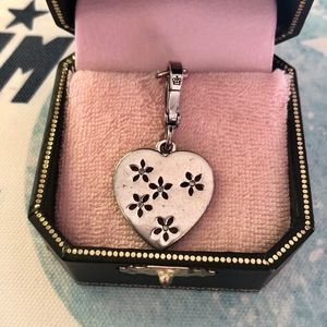 Juicy Couture Silver Heart Charm Flower Crystals